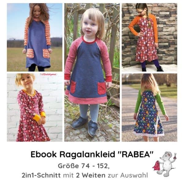 Schnittmuster Ebook Raglankleid Rabea Mädchen Kinderkleid für schmale dünne zierliche Mädchen Mädels Die kleine Stoffmaus