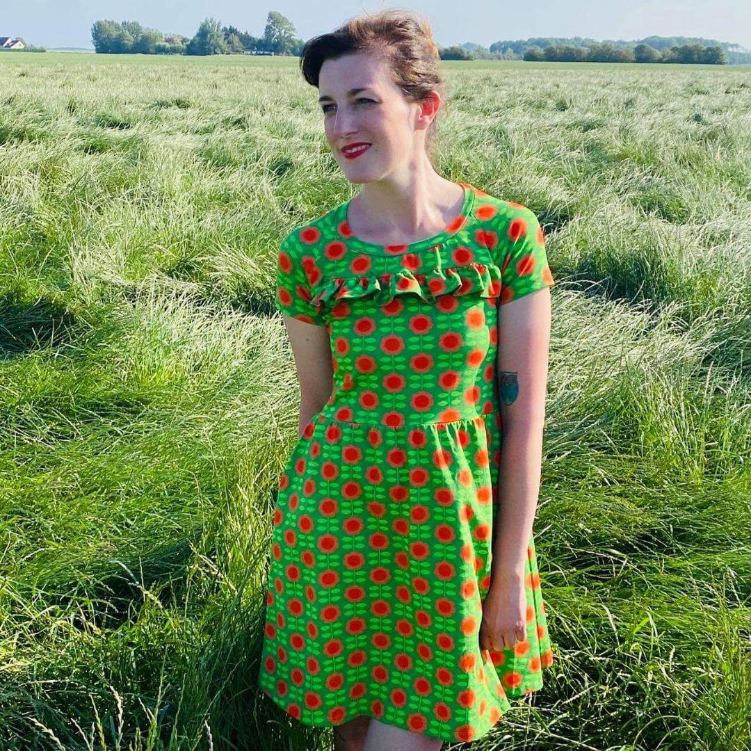 Bio Jersey Happy Retroflowers grün - Rest 51cm für nur 10 ...