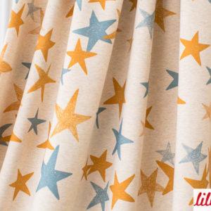 When it's dark look for stars - in den Farben SENF BLAU Lillestoff Jersey Die kleine Stoffmaus